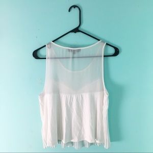 Topshop Tops - Topshop Tall Crop Top Pleated White 6